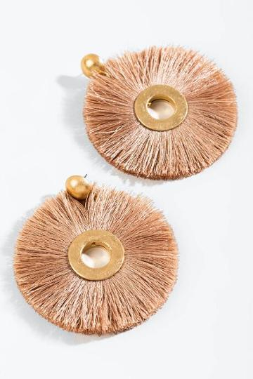 Francesca's Lindsey Round Tassel Earrings - Beige