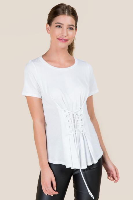Jolie Shaima Corset Front Tshirt - White