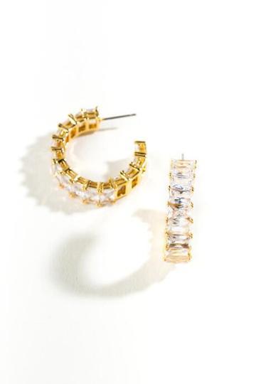 Francesca's Kirsten Baguette Hoop Earrings - Crystal