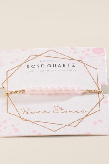 Francesca's Powerstone Rose Quartz Braided Bracelet - Pale Pink