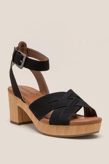 Francesca Inchess Irdarsel Woven Strap Block Heel - Black
