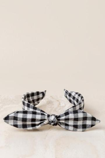 Francesca's Missy Gingham Headband - Black/white