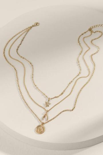 Francesca's Chessie Multi Strand Pendant Necklace - Gold