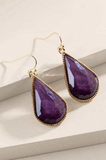 Francesca Inchess Tricia Faceted Teardrop Earrings - Purple