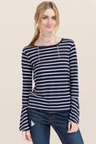 Jolie Addi Striped Bell Sleeve Top - Navy
