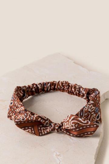 Francesca's Allie Bandana Print Headwrap - Rust