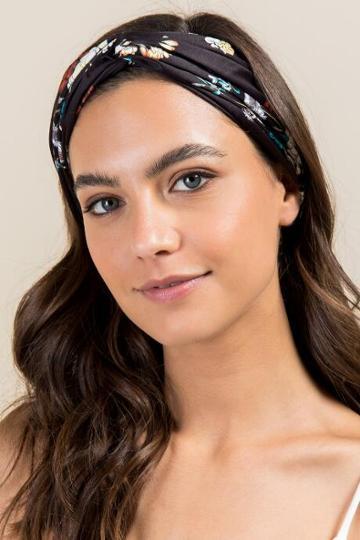 Francescas Heidi Floral Headwrap - Black