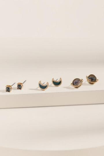 Francesca's Lauren Glass Stud Earring Set - Multi
