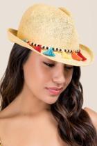 Francesca's Luciana Straw Fedora Hat - Tan
