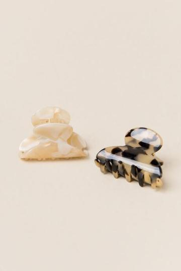 Francesca's Rosario 2 Pack Tortoise Claw Clips - Ivory