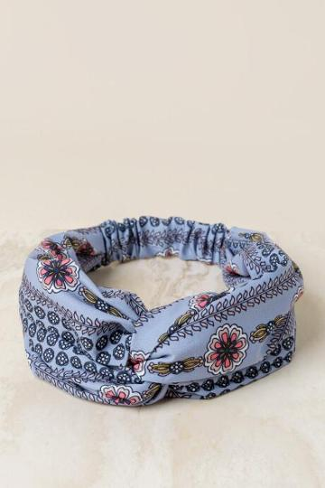 Francesca's Kathryn Floral Headband - Light Blue
