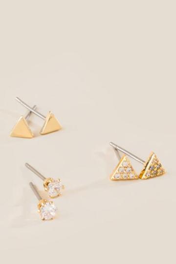 Francesca's Hillary Triangle Stud Earring Set - Crystal