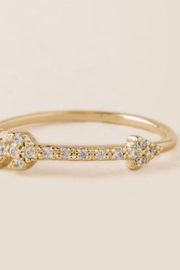 Francesca's Diana Crystal Arrow Ring - Gold