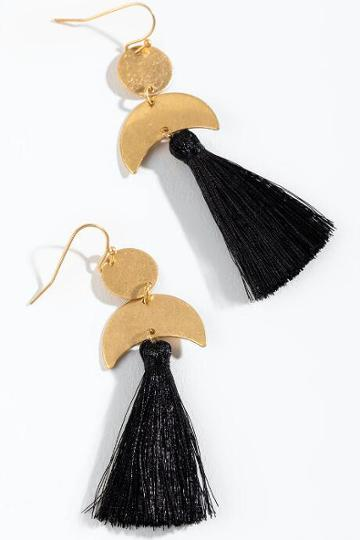 Francesca's Jamie Circle & Moon Tassel Earrings - Black