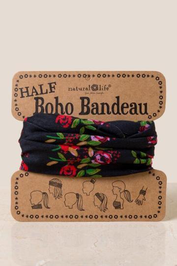 Francesca's Boho Bandeau In Black Blooms - Brown