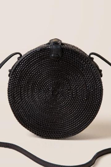 Francesca's Ariadne Round Rattan Crossbody In Black - Black