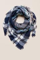 Francesca's Jayne Plaid Blanket Scarf - Navy