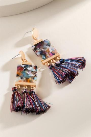 Francesca's Mavis Square Drop Earrings - Multi