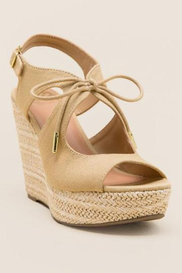 Fergalicious Vicky Tie Canvas Wedge - Natural