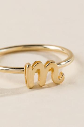 Francesca Inchess M Initial Script Ring - Gold
