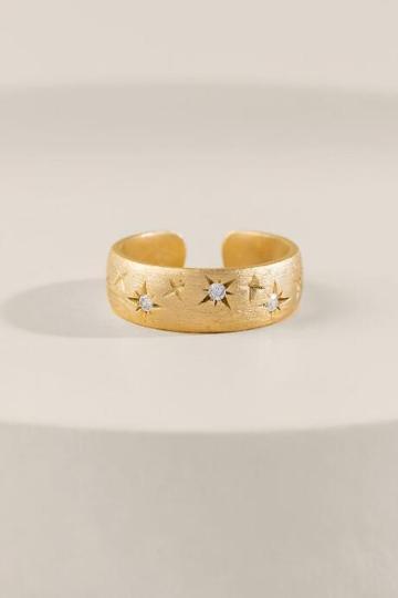 Francesca's Eva Crystal Cigar Band Ring - Gold