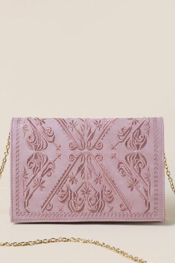 Francescas Lesly Embroidered Clutch Crossbody - Blush