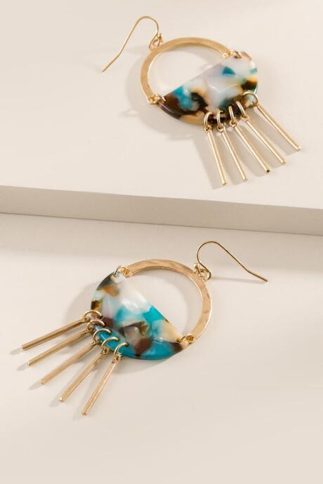 Francesca's Lakin Open Circle Drop Earrings - Teal