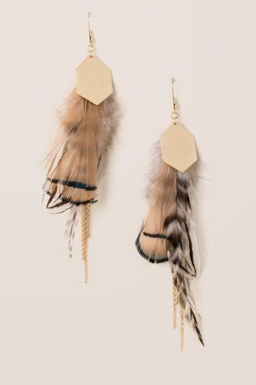Francesca's Veronica Feather Earrings - Taupe