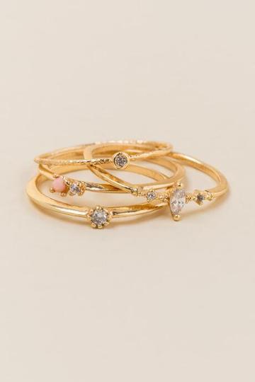Francesca Inchess Isolde Crystal Ring Set - Gold