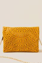 Francesca's Brielle Perforated Clutch Crossbody - Mustard