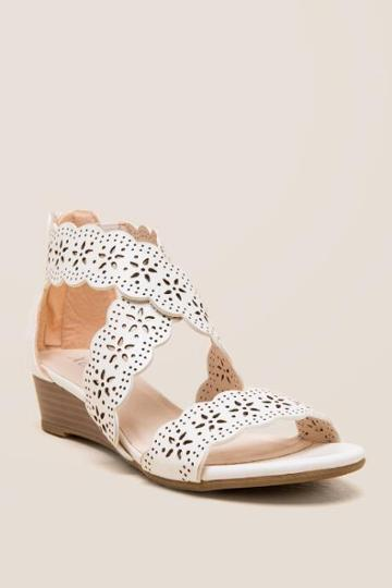 Xoxo Archie Floral Low Wedge - White