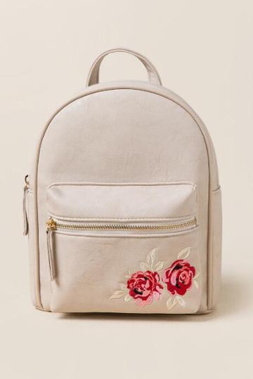 Francesca's Alex Rose Embroidered Backpack - Taupe