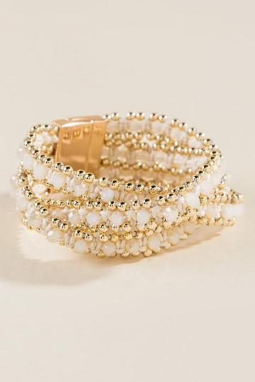 Francesca's Kacie Beaded Wrap Bracelet - Ivory