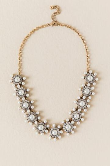 Francesca Inchess Michaela Pearl Crystal Statement Necklace - Pearl