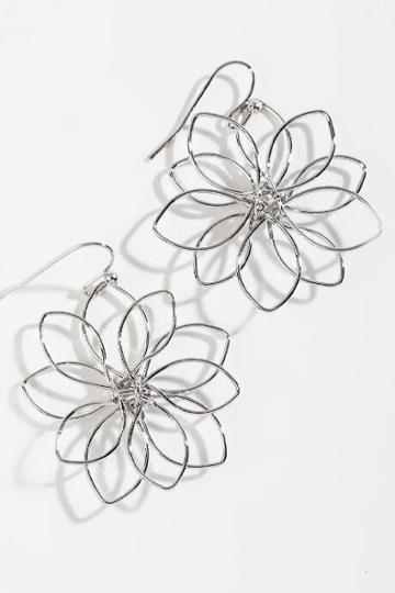Francesca's Jasmin Wire Flower Drop Earrings - Silver