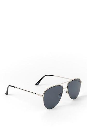 Francesca's Mia Braided Metal Frame Aviator Sunglasses - Black