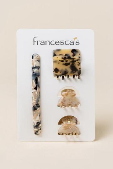 Francesca's Natasha 4 Pack Hair Claw And Salon Clip - Blue