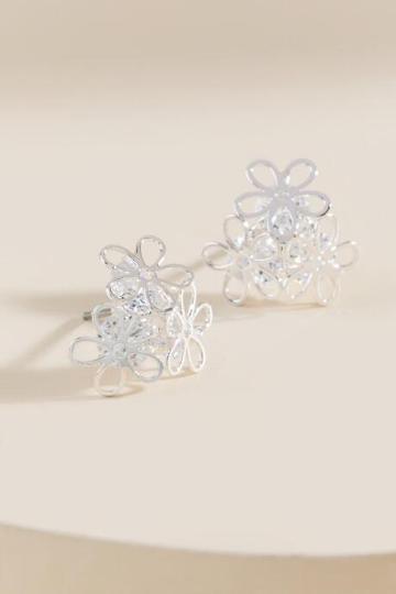 Francesca Inchess Metal Flower Earrings - Silver