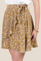 Francesca's Bella Floral Wrap Skirt - Marigold