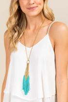Francesca's Julia Tassel Necklace In Turquoise - Turquoise