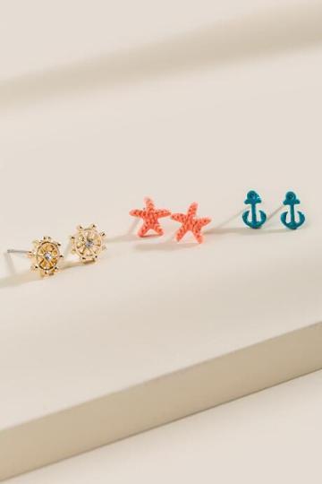 Francesca Inchess Sea Themed Earrings 3pk - Multi