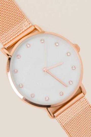 Francesca's Yolanda Rose Gold Metal Watch - Rose/gold