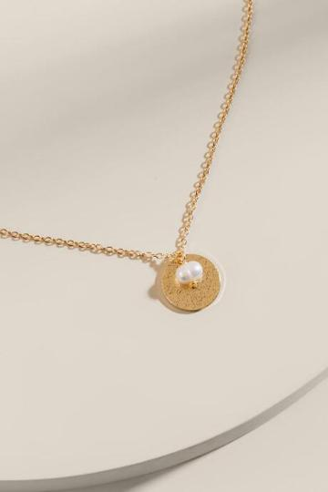 Francesca's Eleanor Coin And Pearl Pendant Necklace - Gold