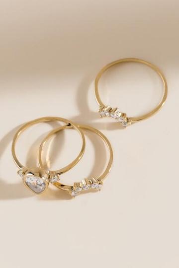 Francesca's Kacey Cubic Zirconia Ring Set - Gold