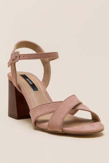 Kensie Exalia Criss Cross Block Heel - Blush
