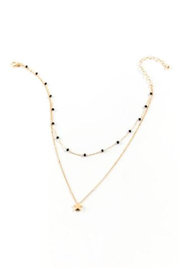 Francesca's Ashlee Star Drop Layered Necklace - Black