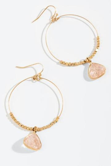 Francesca's Bella Crackle Stone Circle Drop Earrings - Blush