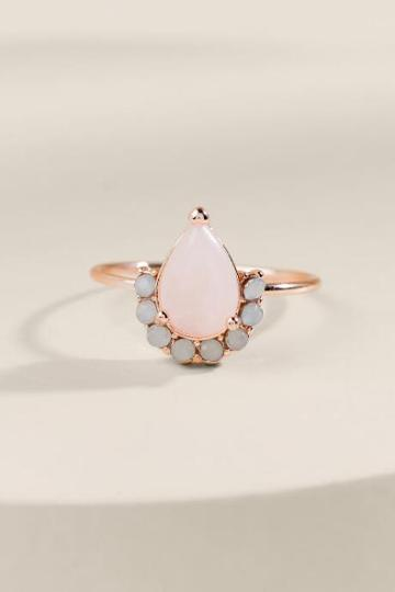 Francesca's Miranda Rose Quartz Teardrop Ring - Pink