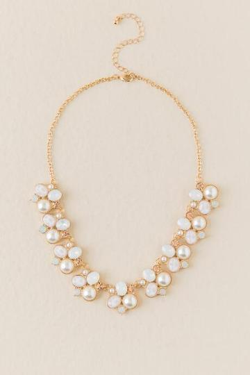 Francesca Inchess Lacey Pearl Statement Necklace - Crisp Champagne