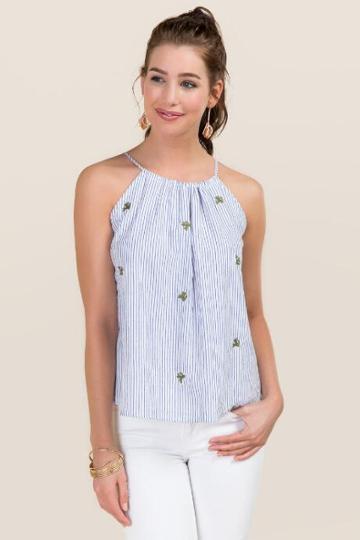 Blue Rain Aviva High Neck Striped Embroidered Cactus Tank - Oxford Blue